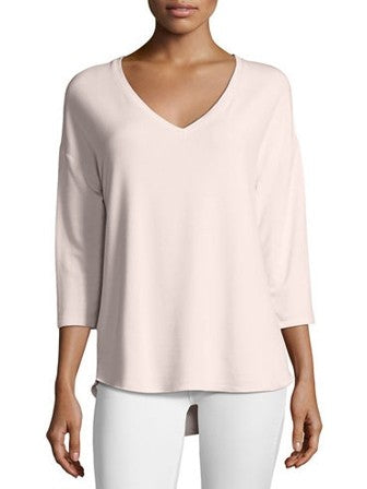 Majestic Filatures 3/4 Sleeve V-Neck Fleece Top