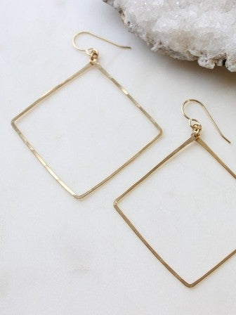 Hello Adorn Square Hoops in Gold