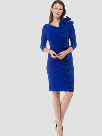Joseph Ribkoff Royal Blue Midi Dress with Ruffle Cascades