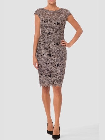 Joseph Ribkoff Short Sleeve Lace Dress with Scalloped Edges in Black and Gold