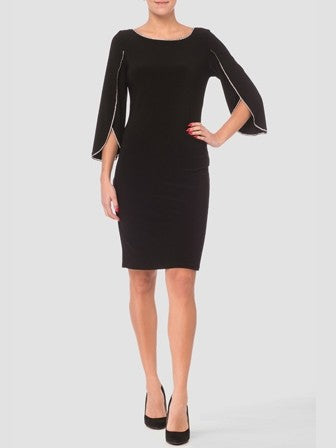 Joseph Ribkoff Long Sleeve Back Dress with Rhinestone Detailing