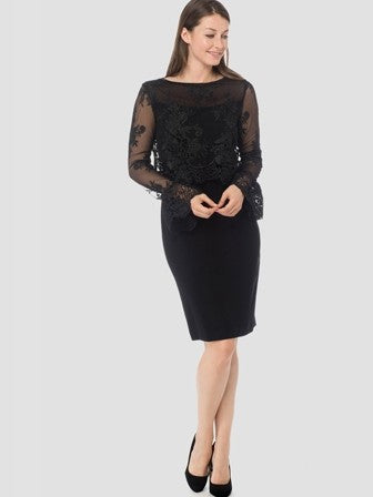 183513 Joseph Ribkoff Black Long Sleeve Lace Dress
