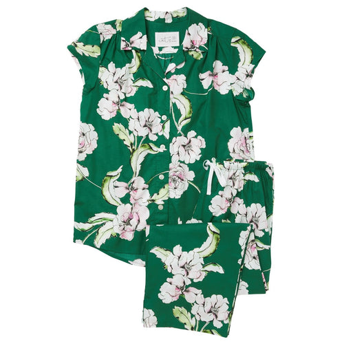 Cat's Pajamas Pima Cotton Georgia Capri Set in Green Floral