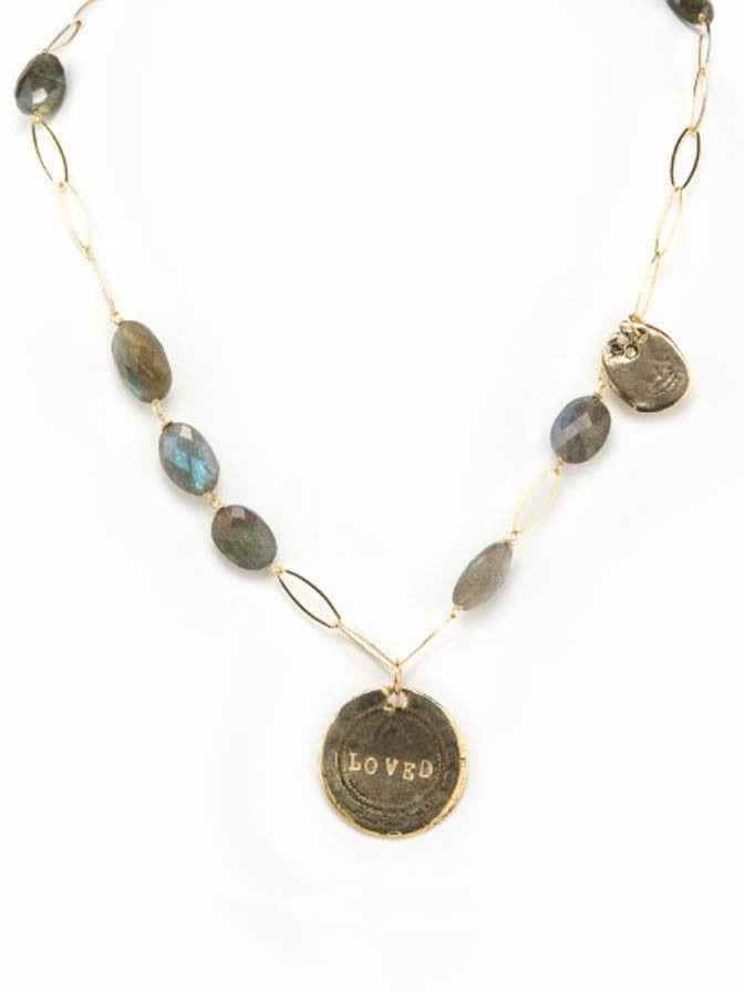 TAYLOR AND TESSIER LABRADORITE LOVED NECKLACE