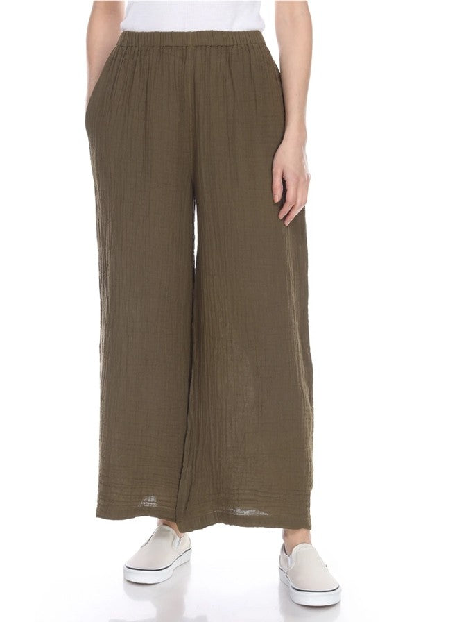 Honest Cotton Palazzo Long Pant Olive
