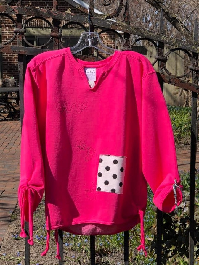 Kunky's Pink Dot V Neck Sweatshirt