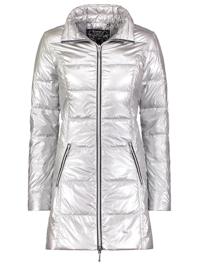 Anorak Puffer Coat in Metallic Silver