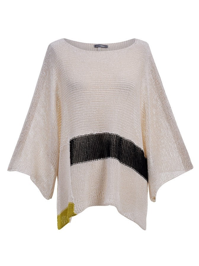 Alembika Boat Neck Stripe Sweater in White