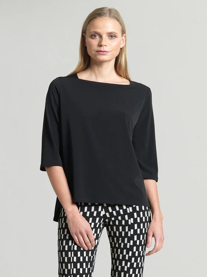CLARA SUN WOO BLACK BOAT NECK TOP FRONT