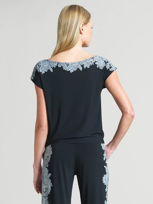 CLARA SUN WOO LACE TRIM CAP SLEEVE TOP