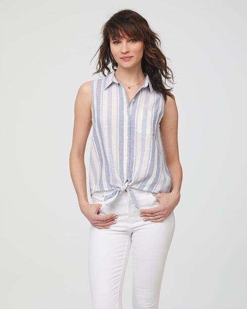 Beach Lunch Lounge Sleeveless Tie Front Tee