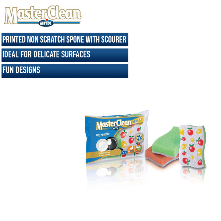 Master Clean Decorated Non Scratch Sponge Scourer