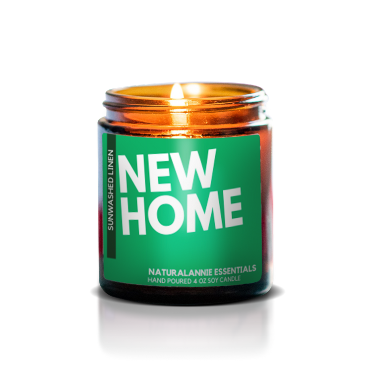 "Sunwashed Linen ""NEW HOME"" Soy candle"