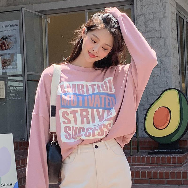 Positive Vibes Round Neck Pullover Sweater
