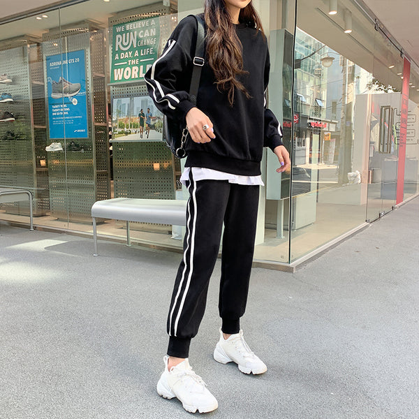 Two-Piece Dual Stripe Joggers & Crewneck Sweatsuit