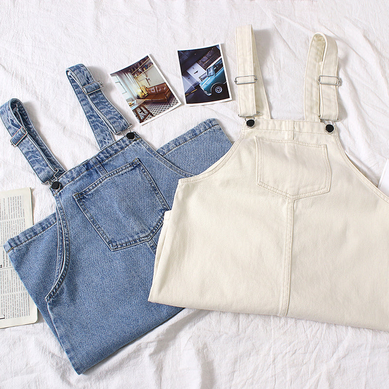 Denim Mid-Legth Overall Dress
