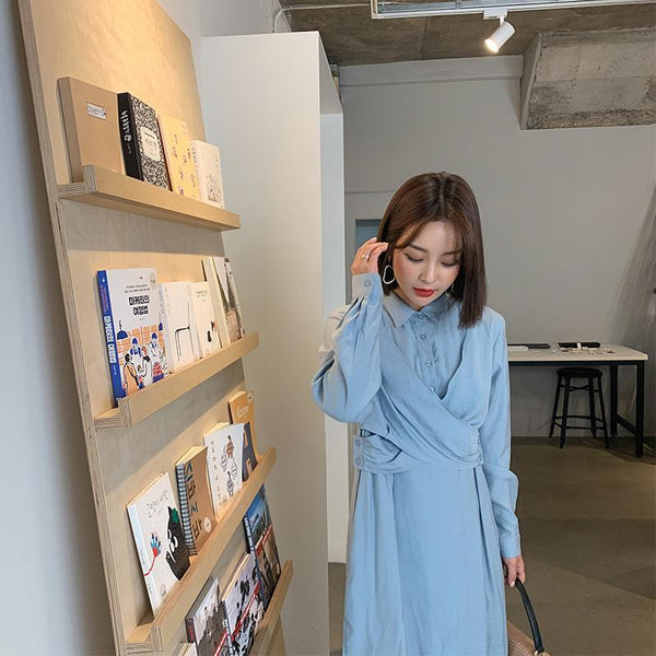 Button-up Collar Solid Dress