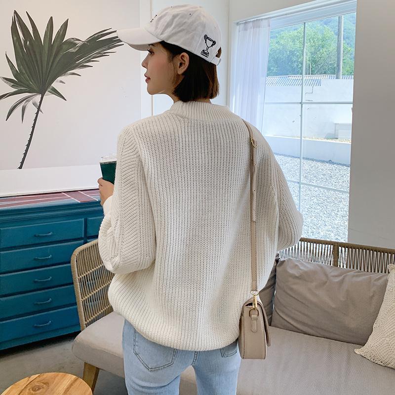 Loose Knit Ribbed Crew Neck Sweater