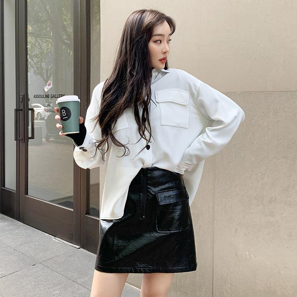 Patch Pocket Zipper Front Vegan Leather Skirt