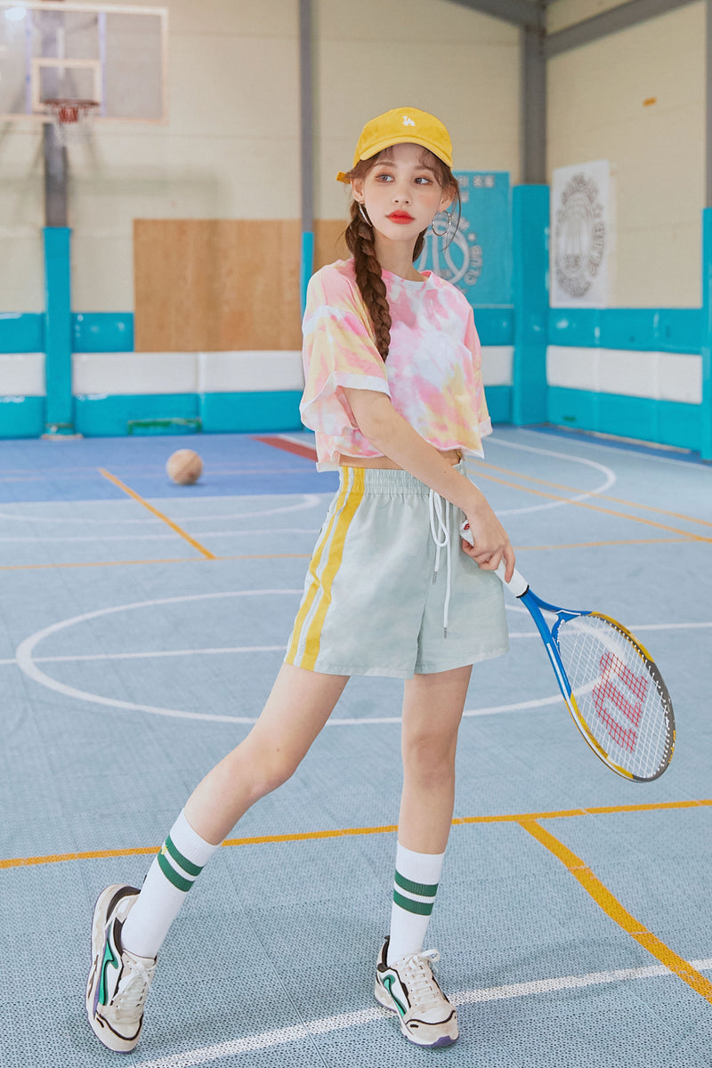 High-Waist Contrast Color Stripe Shorts