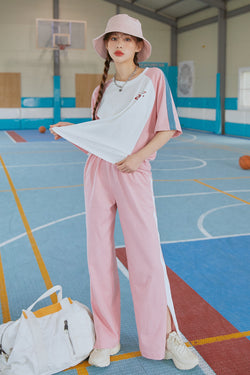 Track & Field Color-Block Tee & Pants Set