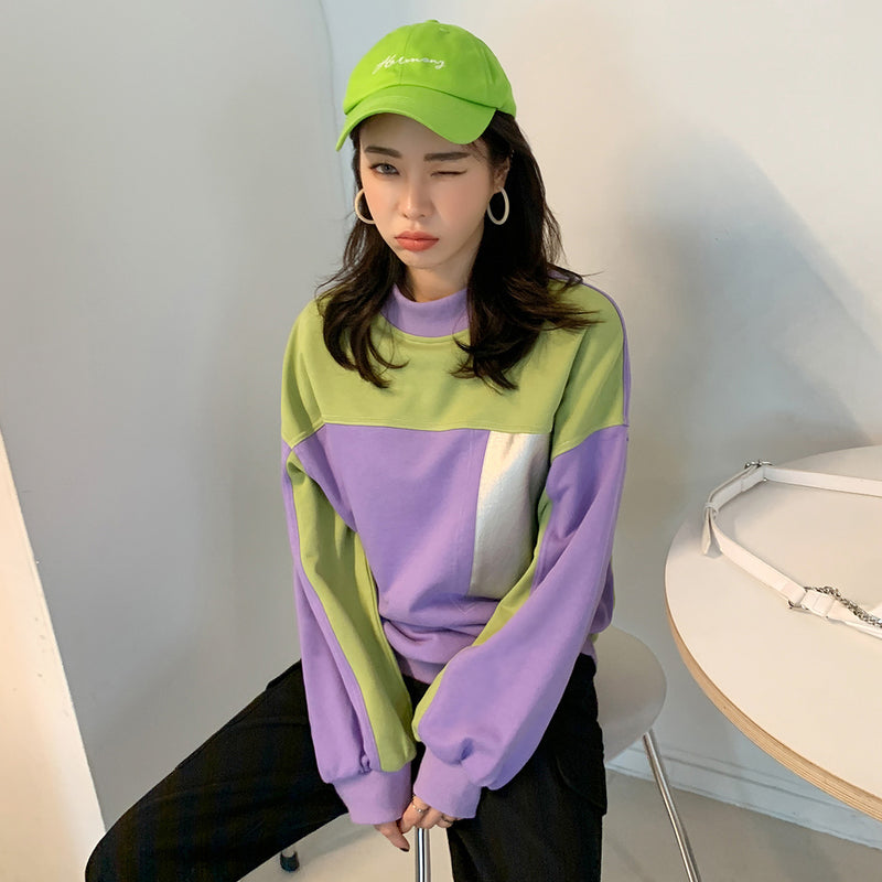 Retro Neon Color block Sweatshirt