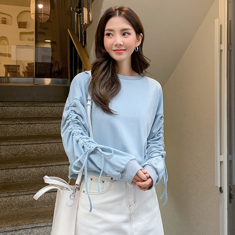 Ruffle Tie Sleeve Knit Sweater