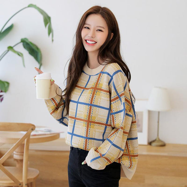 Plaid Crosshatch Drop Shoulder Sweater