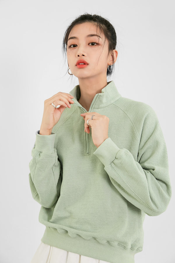 Raglan Sleeve Zip-Up Neck Sweatshirt