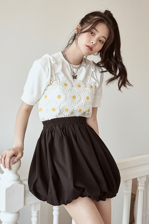 High-Waist Mini Bubble Skirt