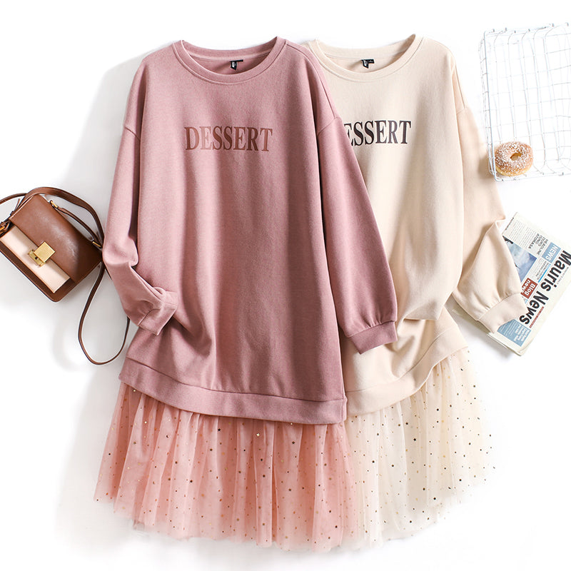 2 In 1 Dessert Only Pullover Sweater & Mesh Dress
