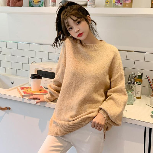 Simple Crew Neck Ribbed Knit Sweater