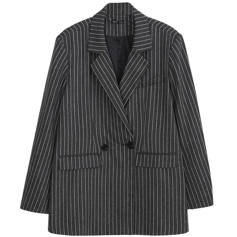 Pinstripe Double-Breasted Boyfriend Blazer
