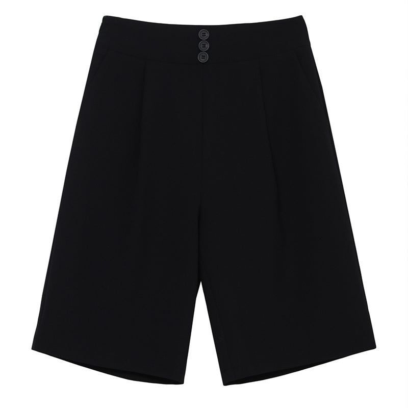 Oversized High-Waist Knee-Length Shorts
