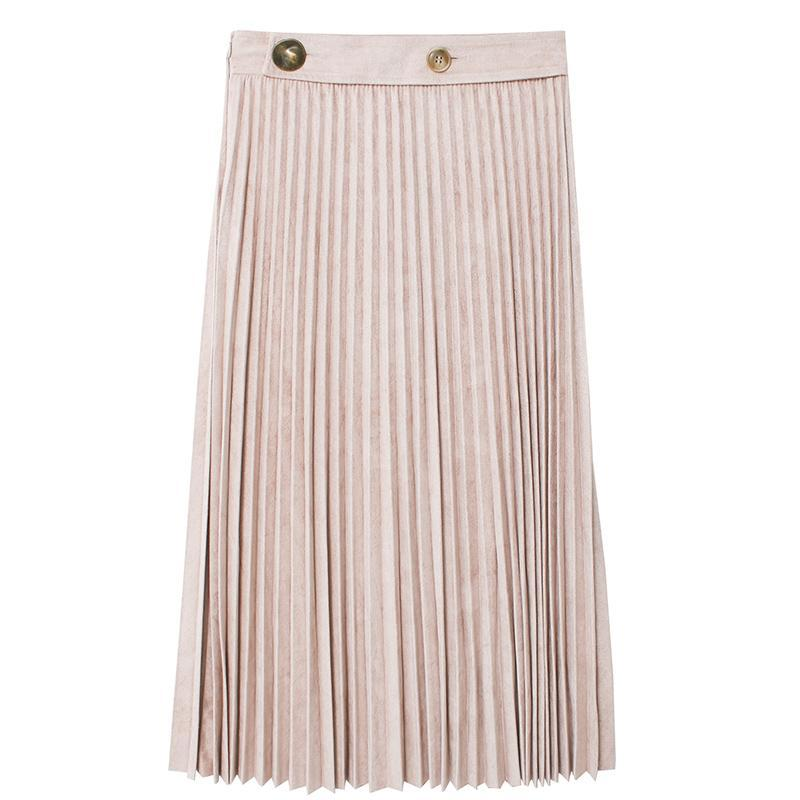 Button Detail Pleated Skirt