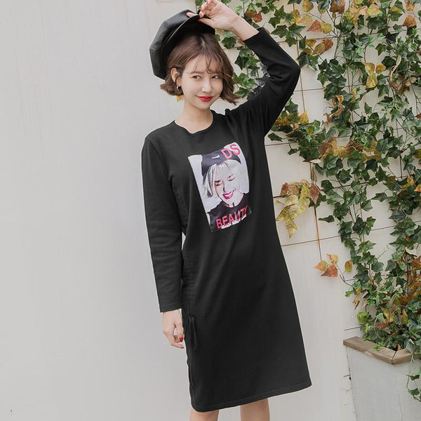 Side Tie Long Sleeve Sweater Dress