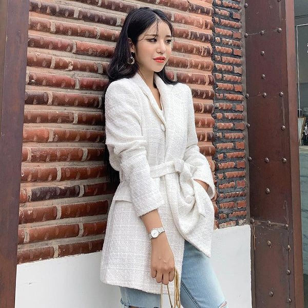 Grid Belted Notch Collar Textured Blazer