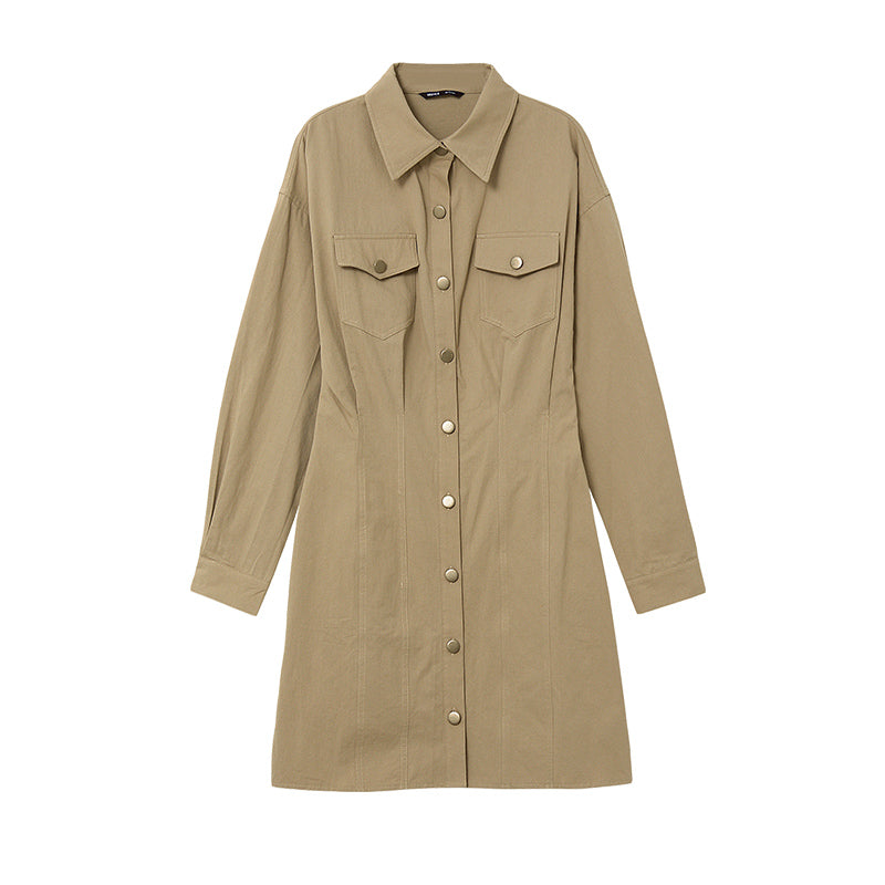 Safari Button-Up Twill Shirt Dress
