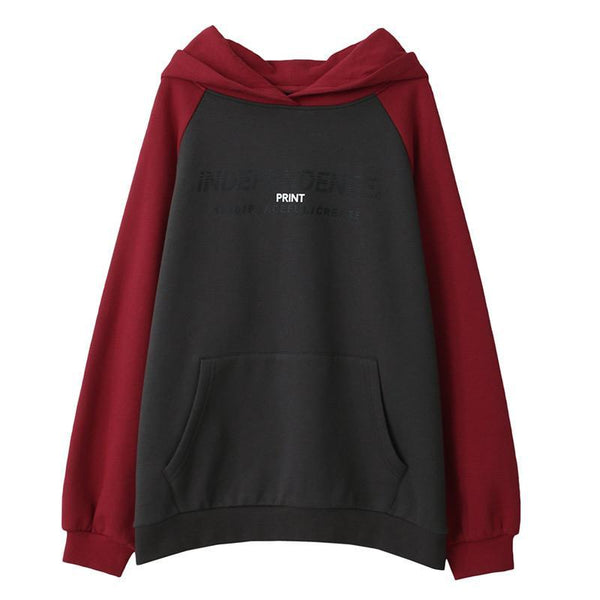Contrast Sleeve Snap Button Hoodie
