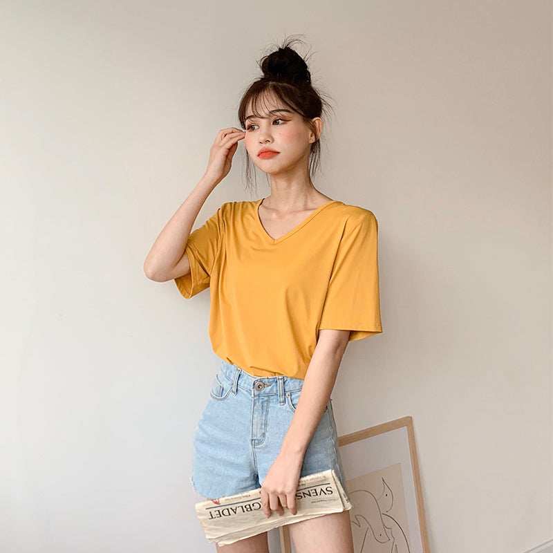 Oversized V-Neck Short-Sleeve Tee
