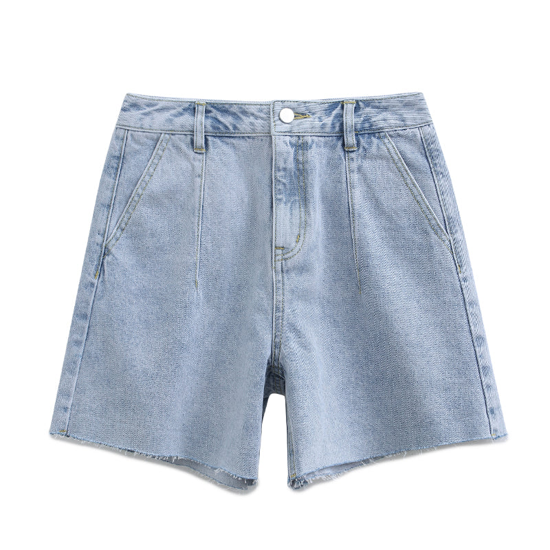 Straight-Leg Roll-Up-Cuff Jean Shorts