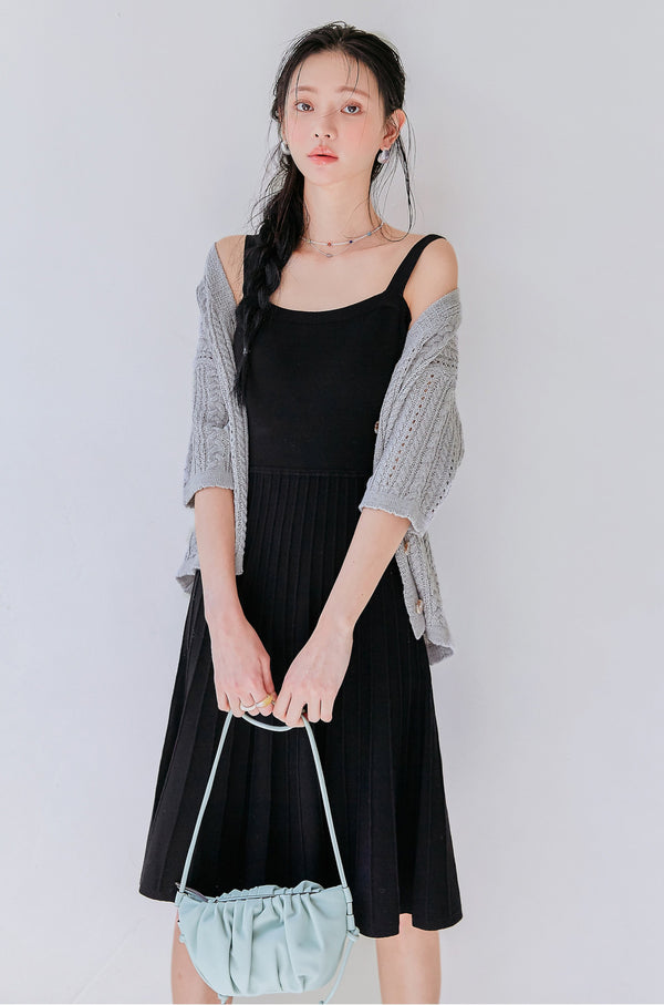 Midi Wide Strap Knit Dress