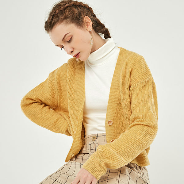 Ribbed Knit Cardigan Sweater