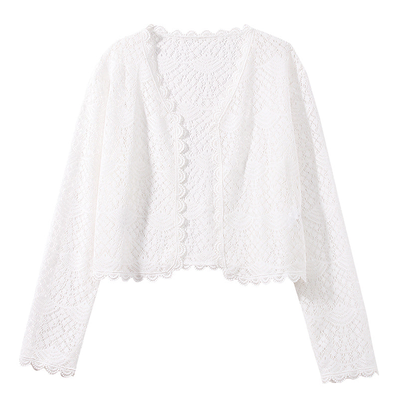 Cropped Open-Front Lace Cardigan
