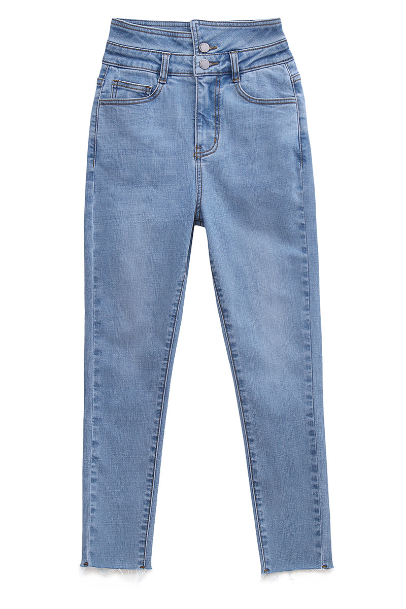 High-Waist Button-Front Stretch Skinny Jeans