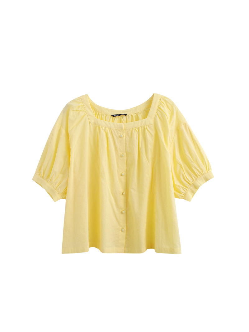 Puff-Sleeve Square-Neck Button-Front Blouse