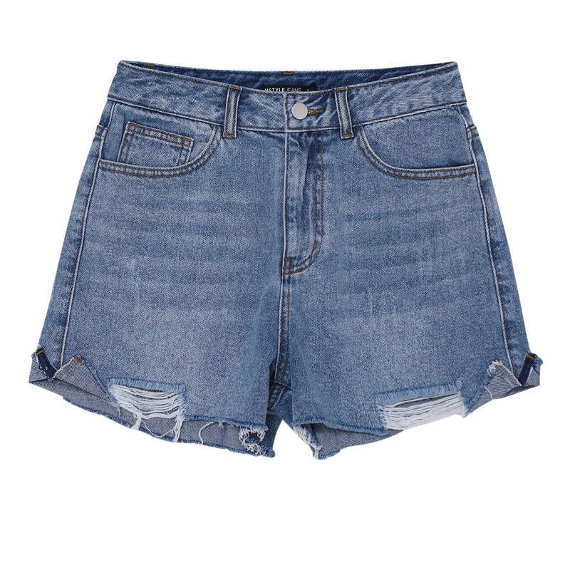 High-Waist Raw-Hem Jean Shorts