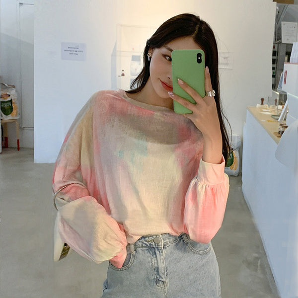 Multi-Color Oversized Sheer Top