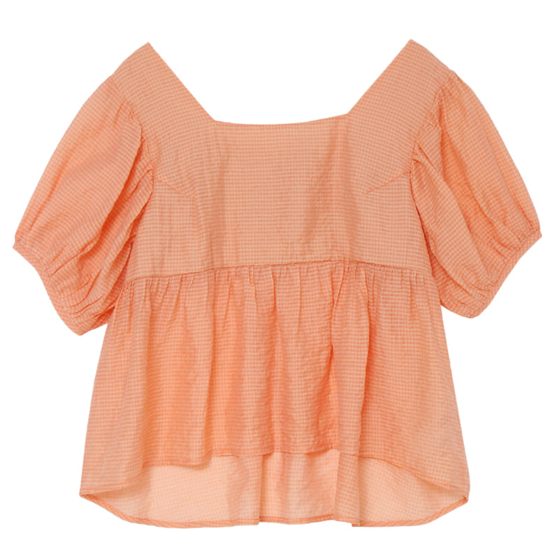 Square-Neck Smock Back Babydoll Top