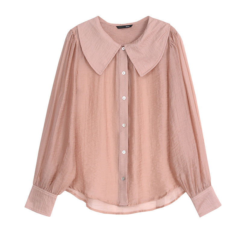 Wide-Collar Volume-Sleeve Button-Down Shirt